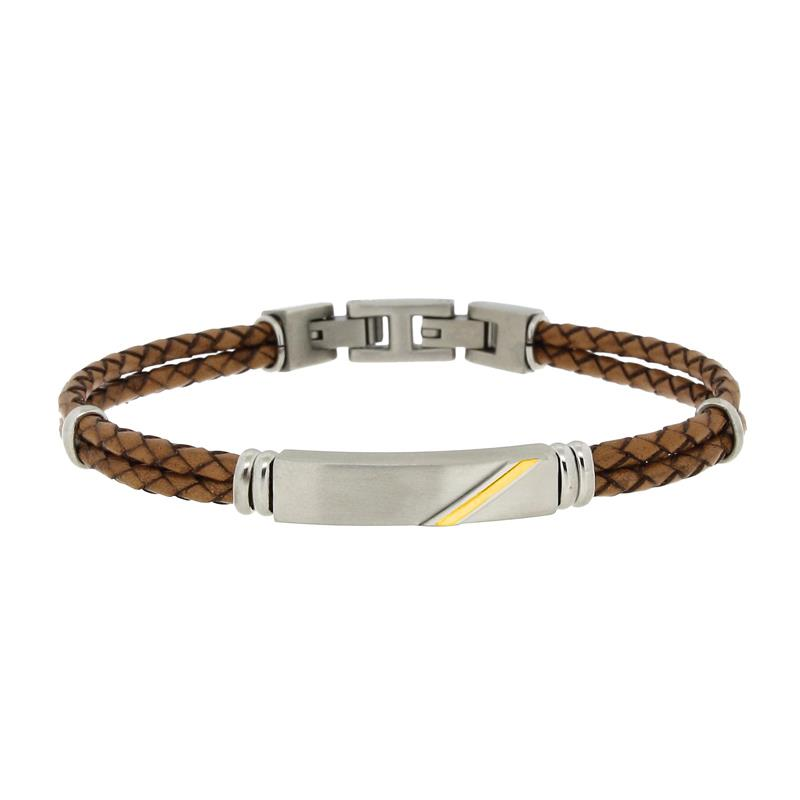MANLY - BRACCIALE IN PELLE MARRONE CON PLACCA - ZOPPINI UOMO