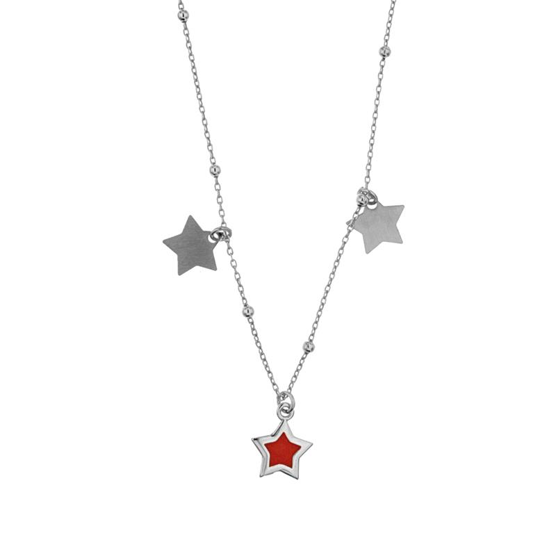 NECKLACES - COLLANA IN ARGENTO CON STELLINA SMALTATA - AMORE E BACI