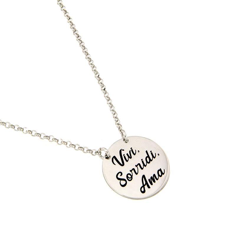 "JOY OF MY LIFE - COLLANA IN ARGENTO ""VIVI SORRIDI AMA"" - AMORE E BACI"