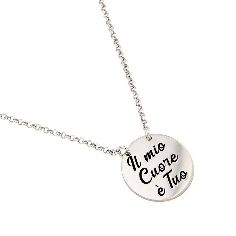 """JOY OF MY LIFE - COLLANA IN ARGENTO """"IL MIO CUORE E' TUO"""" - AMORE E BACI"""
